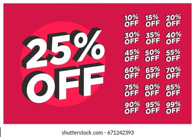 Set of discounts 25% OFF Written in Flat Colours with 3D Style Shadow
