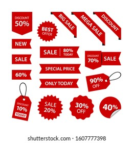 Set discounts percent stickers red labels ribbon price tag corner variation vector designs. Big sale, mega sale, hot sale, special price, only today, Christmas, new year, valentine, ramadan, holiday
