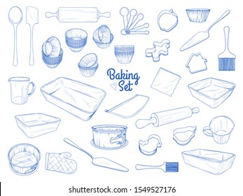 Set of dishes for baking. Baking stuff. Vector illustration in sketch style.