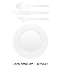 A set of dishes isolated on white background. Plate, spoon, fork, knife.