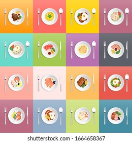 """Set dishes vector illustration. Various food dishes. Sushi, steak, salad, soup and fried rice """"nasi goreng"""" are some of the foods that are popular many people. Food that can bring us our own happiness"""