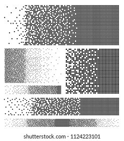 Set of dissolved filled square dotted vector icon with disintegration effect. Vector illustration rectangle items are grouped into disappearing filled square form. Isolated on white background