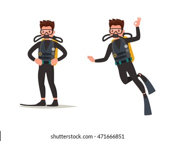 Set of diver posing and under water. Vector illustration of a flat design