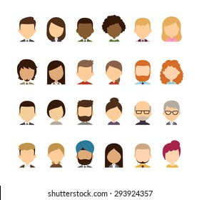 Set of diverse avatars without facial features. Different skin tones, clothes and hair styles. Cute and simple flat cartoon style.