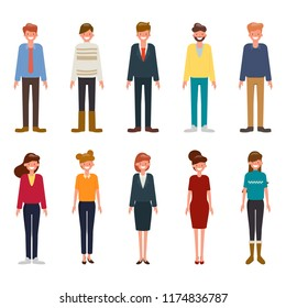 Set of diverse business people character isolated on white background. Different nationalities and clothes styles.