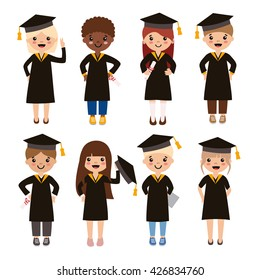 Set of diverse college or university graduation students isolated on white background. Different nationalities and dress styles. Cute and simple cartoon style.
