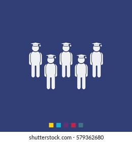 Set of diverse college or university graduation students. Vector icon.