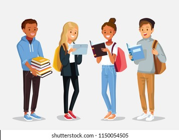 Set of diverse college or university students holding and reading books. Students different nationalities from different countries standing in line.  Vector illustration. Flat design