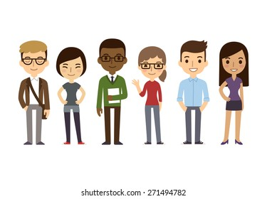 Set of diverse college or university students isolated on white background. Different nationalities and dress styles. Cute and simple flat cartoon style.