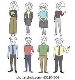 Set of diverse cute people in various poses. Vector illustration with hand-drawn style.