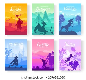 Set of diverse fantasy worlds illustration. Fantasy creatures from old myths and fairy tales. Template of magazines, poster, book cover, banners. Landscape invitation concept