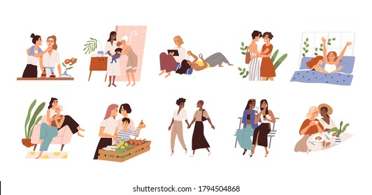 Set of diverse homosexual multiracial lesbian couples. International gay family bundle with children. Female parents, different ages. Flat vector cartoon illustration isolated on white background.