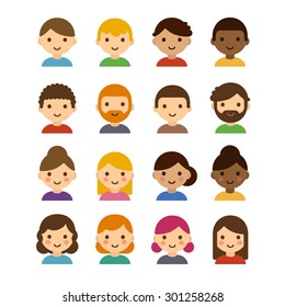 Set of diverse male and female avatars isolated on white background. Different skin tones, hair colors and styles. Cute simple flat cartoon style.