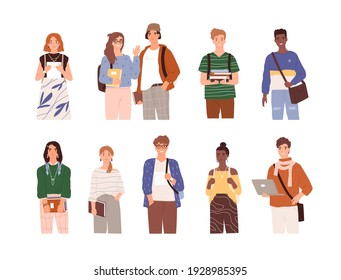 Set of diverse modern students with bags, books and laptop. Portraits of smiling people studying in college or university. Flat vector illustration of young men and women isolated on white background