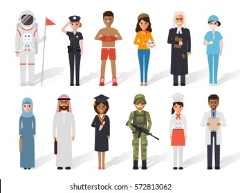 Set of diverse occupation profession people avatars. Flat design people characters.