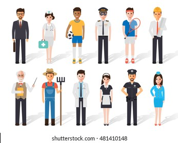 Set of diverse occupation professions, professional people. Flat design people characters.