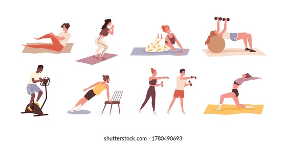 Set of diverse people training with sports equipment vector flat illustration. Collection of man, woman and couples doing exercises with dumbbell, squat, practice yoga and cycling isolated on white