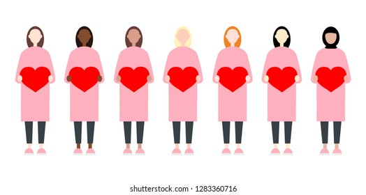 Set of diverse race vector women holding romantic hearts. Valentine Day sisterhood cute and simple modern flat style