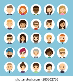 Set of diverse round avatars. Different nationalities, clothes and hair styles. Cute and simple flat cartoon style.
