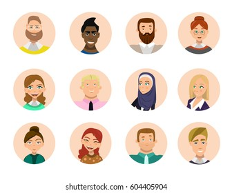 Set of diverse round avatars isolated on white background. Different clothes and hair styles. Cute and simple flat cartoon style