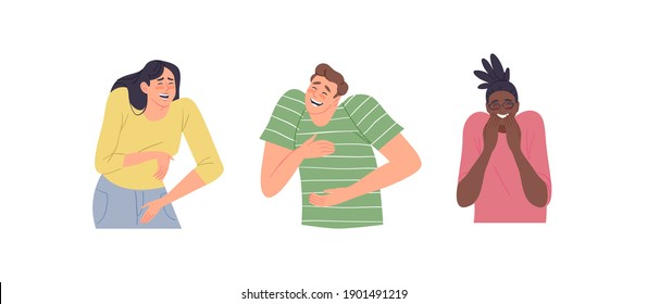 Set of diverse young people laughing at something funny. Man and woman characters crying of laughter in modern flat cartoon style. Funny social reaction collection.