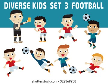 Set of diversity full length kids. set 3football concept.character icons isolated on white and blue background.childhood graphic illustration concept.