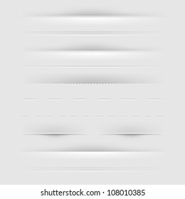 Set Of Dividers, Isolated On Grey Background, Vector Illustration