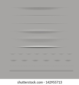 Set Of Dividers Isolated On Grey Background Vector Illustration