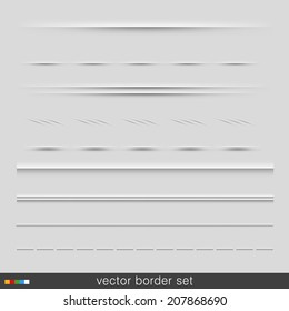 Set Of Dividers, Isolated On Grey Background. Vector Illustration