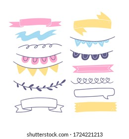 Set of  dividers, ribbons and design elements for bullet journal, notebook, diary and planner. Doodle banners isolated on white background.