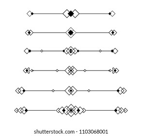 Set of dividers vector isolated. Geometric horizontal vintage line border and text design element.Collection of decorative page rules and text design
