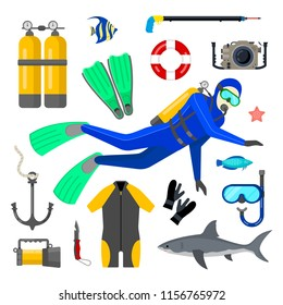 Set of diving equipment and diver on white background. Flat style