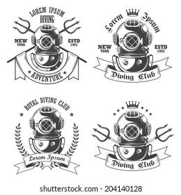 Set of diving labels, emblems and designed elements