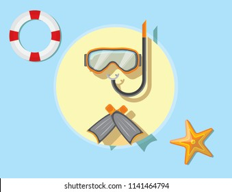 Set for diving. Diving mask, flippers isolated vector illustration