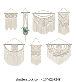 Set of DIY wall hanging. Collection of boho knitting decoration. Cotton cord plant hanger and macrame decor. Vector illustration.