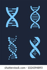 Set of DNA icon chains genetic personal codes, deoxyribonucleic acid chain symbols, logotypes of nucleotides carrying genetic instructions vector