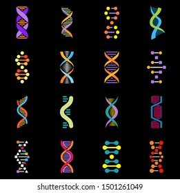 Set of dna icons. Biology and biochemistry research laboratory signs. Life gene model bio code genetics molecule medical symbols, Helix logo, flat vector emblems collection - Vector