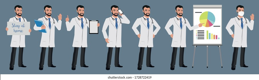 Set of doctor 2 character vector design presentation in various action