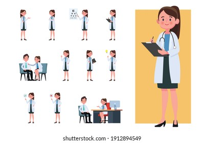 Set of doctor cartoon characters. Flat design people characters.