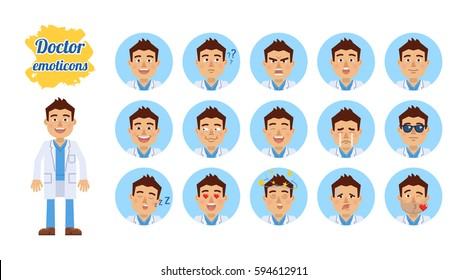 Set of doctor emoticons. Doctor emojis showing different facial expressions. Happy, sad, smile, laugh, surprised, serious, angry, in love, sleepy and other emotions. Simple vector illustration