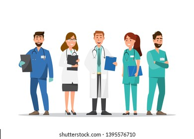 Set of doctor and nurse cartoon characters. Medical staff team concept in hospital. vector illustration
