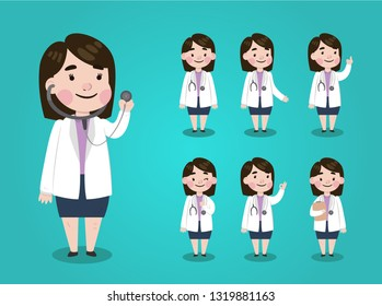 Set of Doctor or nurse character design. gestures, emotions, front and side view. Medicine and healthcare concept - Vector