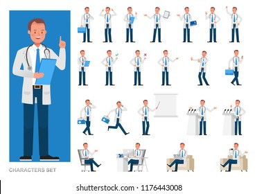 Set of Doctor working character vector design. Presentation in various action with emotions, running, standing and walking.