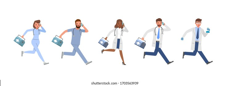 Set of Doctor working character vector design. Presentation in various action with emotions.
