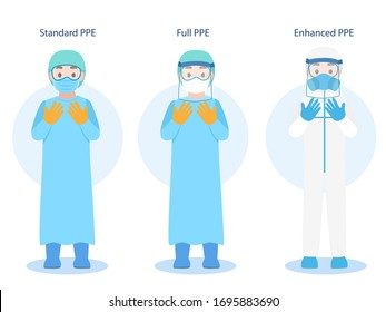Set of Doctors Character wearing in PPE personal protective suit Clothing isolated and Safety Equipment for prevent Corona virus, people wearing Personal Protective Equipment.Work safety