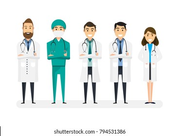 Set of doctors characters isolated on white background. Medical team concept in vector illustration design.