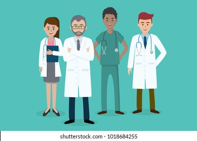 Set of doctors characters. Male and female medical team concept in vector illustration design