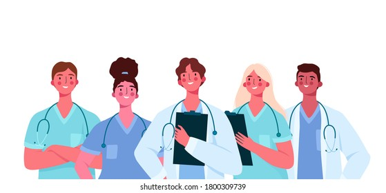 Set of doctors characters. Medical team concept in vector illustration design. Medical staff doctor nurse therapist surgeon professional hospital workers, group of medics.