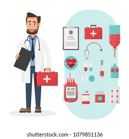Set of doctors holding first aid box characters with medical elements and icon. vector illustration design.