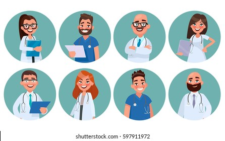 Set of doctors. Hospital staff. Avatars of medical workers. Vector illustration in cartoon style